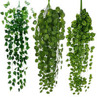 Artificial Fake Hanging Vine Plant Leaves Garland Home Garden Wall Green Decor C