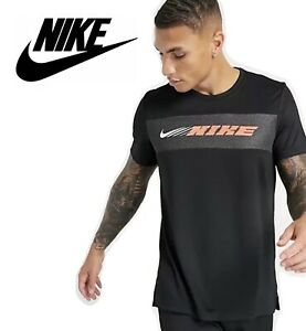 Nike Dri-Fit T-Shirt Sport Clash Short Sleeve Mens Tees, Black Gym Top