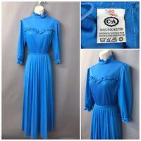 Vintage C&A Shiny Blue Pleated High Neck Dress UK 12 EUR 40