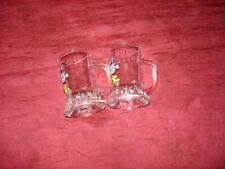 Schnapsglas, 2 Stück, mit Henkel, bedruckt mit Kegelverein-Motiv, sehr guter Zus