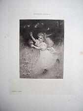 Eau-forte - L'enfant s'amuse  /  Francine Charderon ( 30 X 40 )  XIX ème
