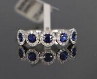 $3550 18K White Gold 1.14ct Blue Sapphire Round Diamond Wedding Ring Band Sz 6.5