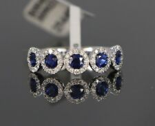 $3550 18K White Gold 1.14ct Blue Sapphire Round Diamond Wedding Ring Band Sz 6.5