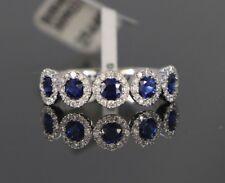 18ct Oro Blanco 1.14 Quilates Zafiro Azul Diamante Redondo Alianza Talla 6.5