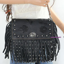 NWT Coach 1941 Rivets Floral Fringe Dinky Leather Crossbody Bag 87456 Black NEW