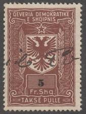 Albania Peoples Rep Takse Pulle Revenue used 5fr Barefoot #6 brown 1946 cv $15