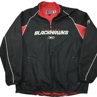 Reebok Men's Large Chicago Blackhawks Black Red Vented Windbreaker Jacket