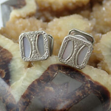 Vintage The Pioneer Registered Mother of Pearl Snap Silver Tone Cuff Links