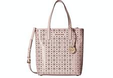 New Michael Kors Hayley Medium N S Top Zip White Perforated Leather Tote Bag