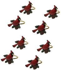 Lenox Holiday Christmas #7345 Red Cardinal Bird Acorn Enamel Napkin Rings Set 8