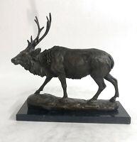 Bronze Marble Statue Elk Deer Stag Hunter Wildlife Art Sculpture Figure Decor