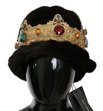 DOLCE & GABBANA Hat Mink Fur Women Brown Beanie Crystal Crown One Size RRP $9800