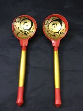 Vintage Hand Painted Decorative Wooden Spoons Set of 2 Red & Gold Home Decor