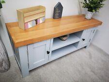 Grey TV Stand - Painted Wood TV Unit - Light Grey Large Media Cabinet Oak Top