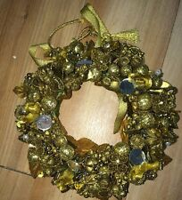 "6"" Small Holiday Wreath ~ Glittered Vintage Corsage Floral Wire"