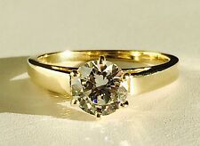 Solid 14K Yellow Gold Classic Cathedral Solitaire Engagement Ring 6.5mm CZ
