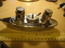 NOVELTY METAL BOAT SHIP LINER CRUET SET CHROME PLATED COMPLETE WITH LINERS SPOON