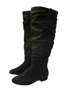 Black Knee High Boots Wide Calf Size 4 Extra Wide Fit Low Heel RRP £66 Evans