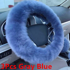 3Pcs Winter Furry Fluffy Thick Faux Fur Car Steering Wheel Cover Gray Blue