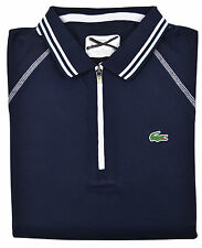 Lacoste Sport Womens Navy Blue Contrast Stitch Zip Up Polo Shirt Top Sz 2 (34)