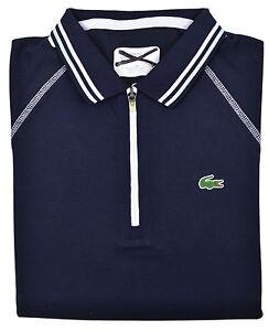 Lacoste Sport Womens Navy Blue Contrast Stitch Zip Up Polo Shirt Top Sz 4 (36)