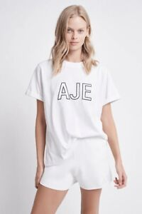BNWT **Aje** Ladies Crafted Tee Shirt Acid-wash Cotton Jersey S/Sleeve Top XS-L