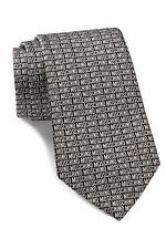 NWT Authentic Men's Black & Grey Moschino Logo Pattern Italian Silk Tie $120