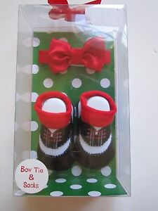 Baby Essentials Christmas Boys Bow Tie Sock Booties Gift Set 0-6 Months New