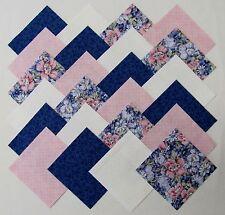 "40 4"" BLUE MYSTIC Fabric Quilt Squares Quilting Floral Cotton Print Pink Dots"