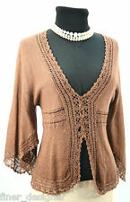 BCBG Max Azria Cardigan Sweater Button Up Lace Flouncy Brown fly away slvs SZ XS
