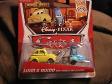 DISNEY PIXAR CARS 2 WHEEL WELL MOTEL SERIES LUIGI & GUIDO W/ SHAKER AND GLASSES