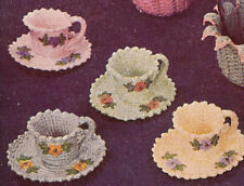 Vintage Crochet PATTERN to make Teacups Nut Cups Candy Dish Novelty Gift