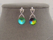 SWAROVSKI VITRAL MEDIUM CRYSTAL ELEMENTS DANGLE EARRINGS PLATINUM FINISH
