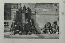 1877: ROMA, LA CONFESSIONE..PER STRADA.ROME.Xilo o in Passepartout ETNA