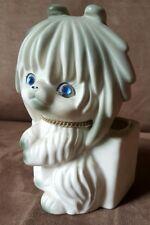 Cute 1950's Rhinestone Eyes Puppy Planter by Lego Ceramic Porcelain Japan Vintag