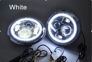 "7"" LED Custom Headlights with Halo DRL Lights - Jeep Wrangler JK CJ TJ"