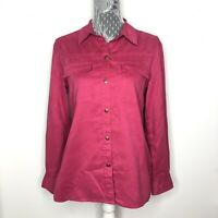 CHICOS Womens Jacket Pink Suede Leather Style Button Down Front Size 1 Medium