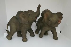 2 x ELEPHANT STANDING WITH TRUNK UP AFRICAN ANIMAL GARDEN STATUE ORNAMENT