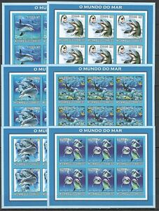 KV138 IMPERFORATE 2002 MOZAMBIQUE NEW FAUNA MARINE LIFE DOLPHINS !!! 6SET MNH