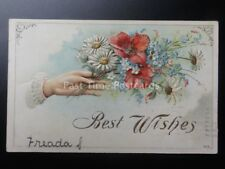 Embossed Poppy Postcard: BEST WISHES c1908