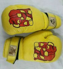 Dan EA Vintage Boxing Gloves Yellow Red Ape Gorilla Worn Old Sports Decor Boxer
