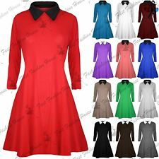 Womens Swing Dress Ladies Peter Pan Collar Long Sleeve Mini Skater Flared Dress