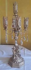Beautiful 32'' Vintage Cast Cupid Cherub Angel Lamp w/ 5 lights, crystals UNIQUE