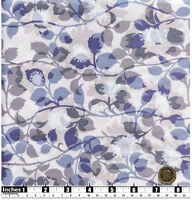 Quilting Fabric Pale Grey Brown Blue Leaves Fat Quarter 100% Cotton