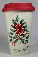 Lenox 'Comfort & Joy' Ceramic Thermal Travel Mug-Silicone Lid  #842898  NIB!