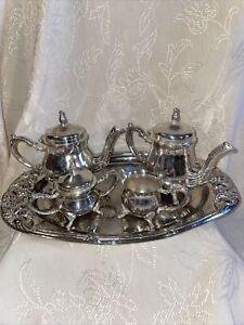 Silver Plated Childs Miniature Tea Set Tea & Coffee Pots Creamer Covered Sugar