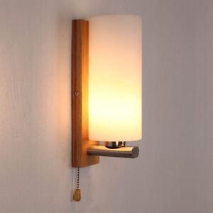 Ashtree Wooden Glass Wall Light,Bedside Bedroom Girls Wall Lamp with Pull Switch