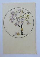 Scherenschnitt, Kinder, Blumen, 1930 ♥ (35003)