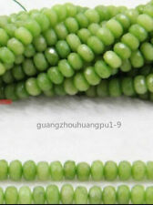 5x8mm Faceted Natural Green Peridot Gemstone Abacus Loose Beads 15""