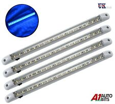 4X BLUE LED 24V INTERIOR LIGHT LAMP 400MM ON/OFF SWITCH TRUCK LORRY SCANIA VOLVO